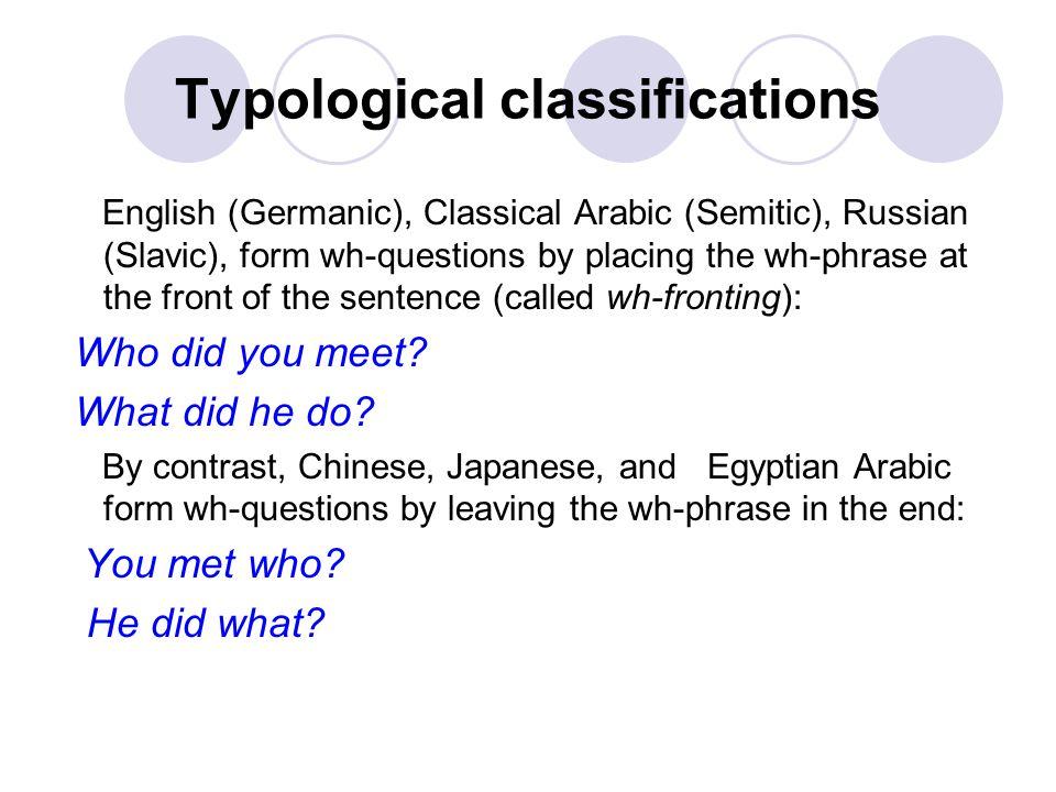 Typological classifications Frederick Schlegel (1772-1829) August Schlegel ( 1767-1845) Wilhelm Humboldt (1767-1835)
