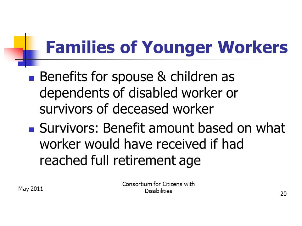 Families of Younger Workers Benefits for spouse & children as dependents of disabled worker or survivors of deceased worker Survivors: Benefit amount based on what worker would have received if had reached full retirement age May 2011 Consortium for Citizens with Disabilities 20