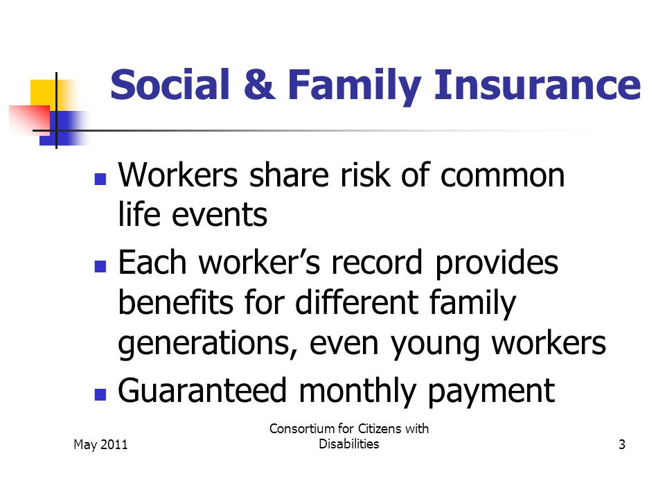 May 2011 Consortium for Citizens with Disabilities3 Social & Family Insurance Workers share risk of common life events Each worker's record provides benefits for different family generations, even young workers Guaranteed monthly payment