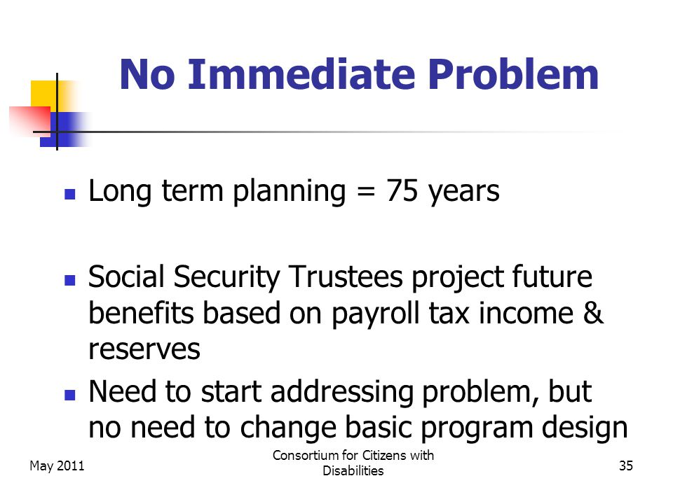 May 2011 Consortium for Citizens with Disabilities 35 No Immediate Problem Long term planning = 75 years Social Security Trustees project future benefits based on payroll tax income & reserves Need to start addressing problem, but no need to change basic program design