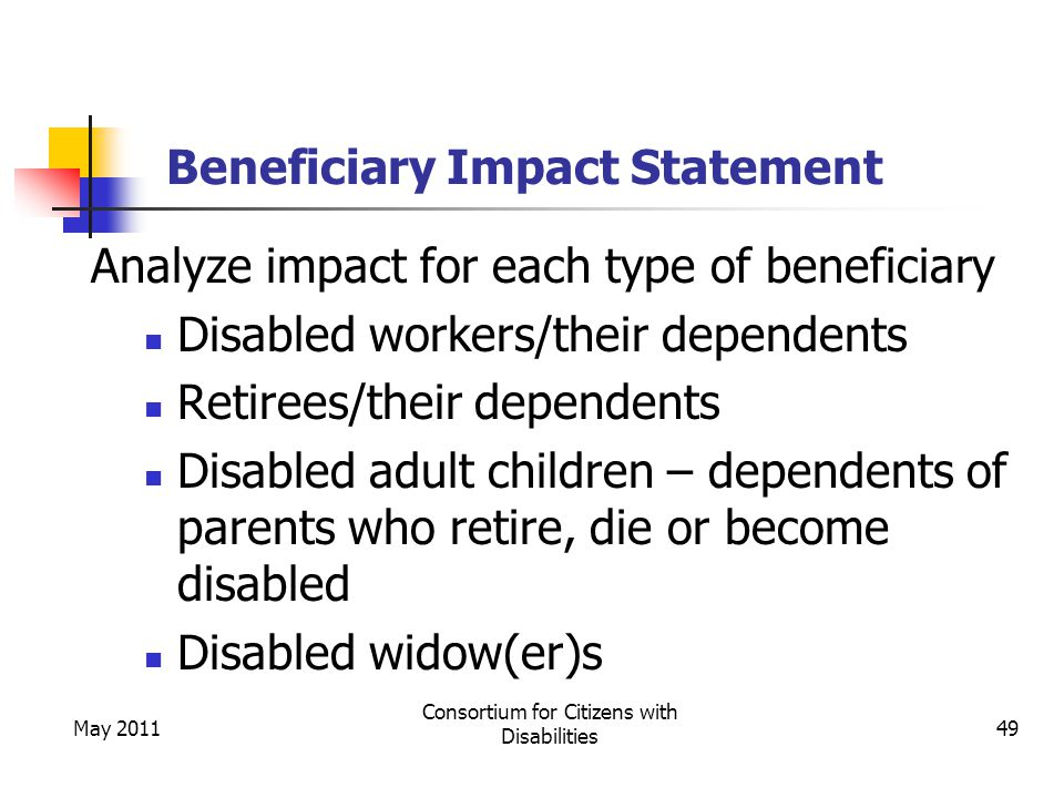May 2011 Consortium for Citizens with Disabilities 49 Beneficiary Impact Statement Analyze impact for each type of beneficiary Disabled workers/their dependents Retirees/their dependents Disabled adult children – dependents of parents who retire, die or become disabled Disabled widow(er)s