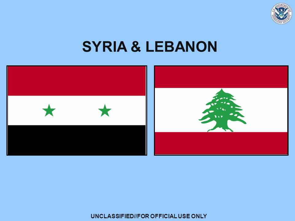 UNCLASSIFIED//FOR OFFICIAL USE ONLY SYRIA & LEBANON