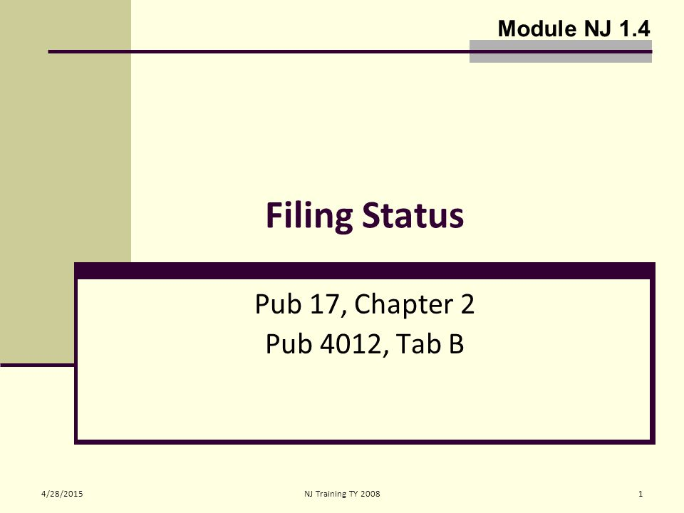 4/28/2015NJ Training TY 20081 Filing Status Pub 17, Chapter 2 Pub 4012, Tab B Module NJ 1.4