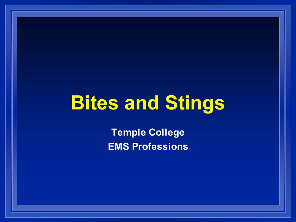 Bites and Stings Temple College EMS Professions