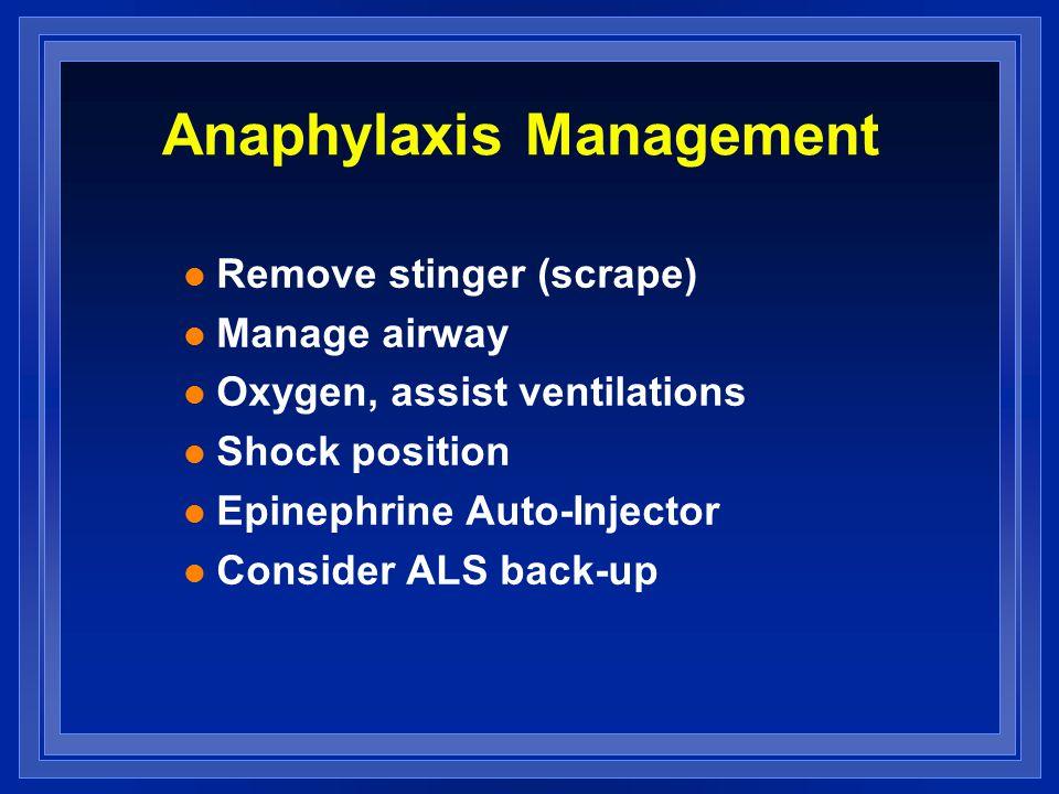 Anaphylaxis Management l Remove stinger (scrape) l Manage airway l Oxygen, assist ventilations l Shock position l Epinephrine Auto-Injector l Consider ALS back-up