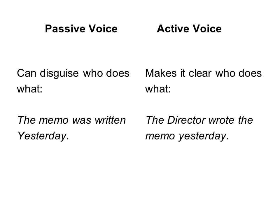 Passive VoiceActive Voice Can disguise who does what: The memo was written Yesterday.