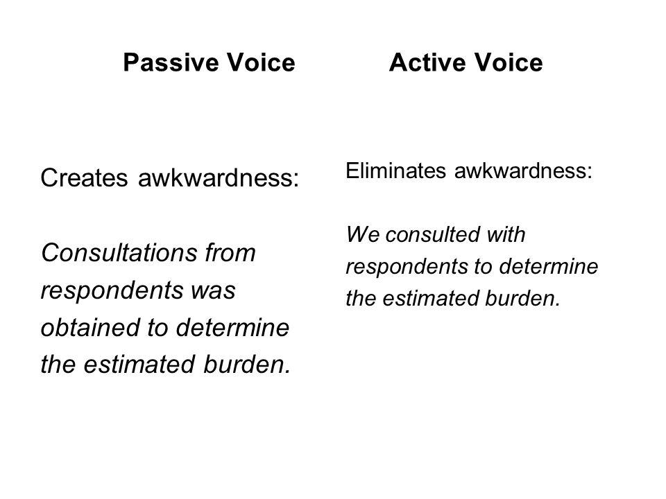 Passive VoiceActive Voice Creates awkwardness: Consultations from respondents was obtained to determine the estimated burden.