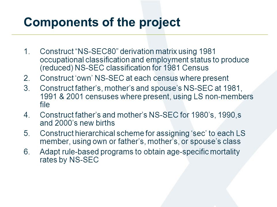 Components of the project 1.Construct NS-SEC80 derivation matrix using 1981 occupational classification and employment status to produce (reduced) NS-SEC classification for 1981 Census 2.Construct 'own' NS-SEC at each census where present 3.