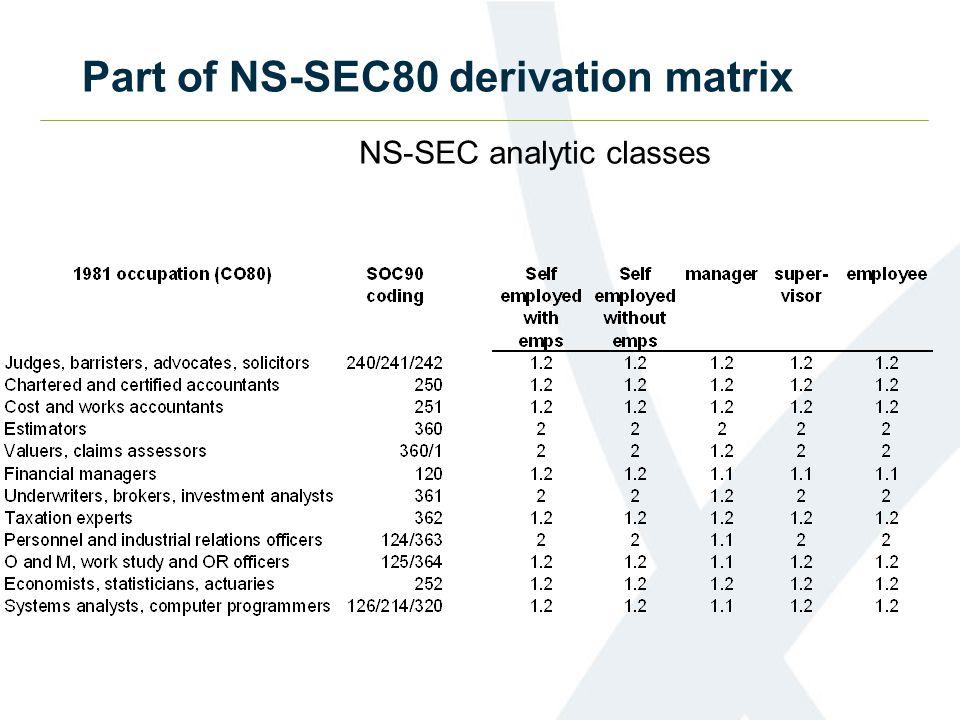 Part of NS-SEC80 derivation matrix NS-SEC analytic classes