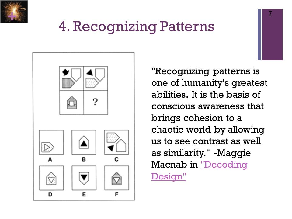 + 4.Recognizing Patterns 7 Recognizing patterns is one of humanity s greatest abilities.