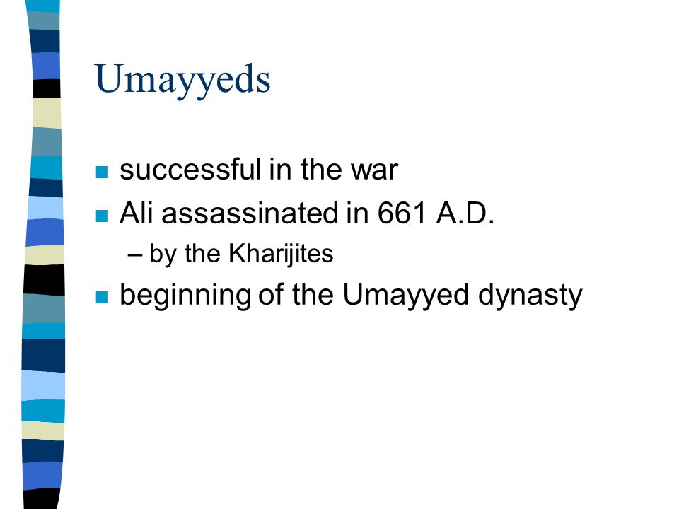 Umayyeds n successful in the war n Ali assassinated in 661 A.D.