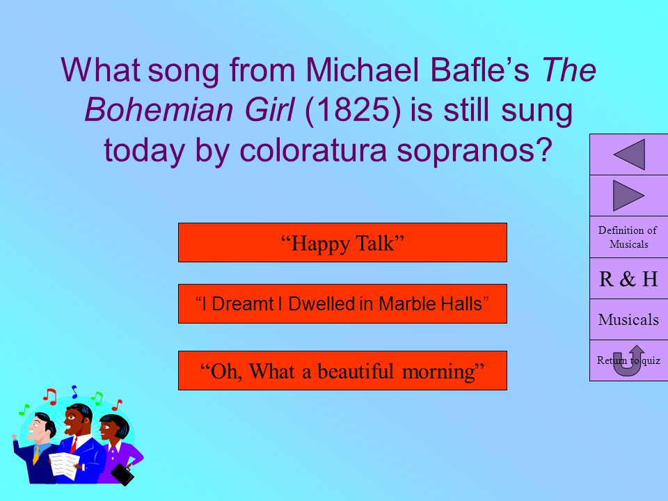 """What song from Michael Bafle's The Bohemian Girl (1825) is still sung today by coloratura sopranos? """"Oh, What a beautiful morning"""" """"Happy Talk"""" """"I Dre"""
