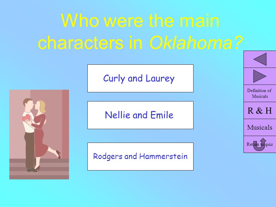 Who were the main characters in Oklahoma? Nellie and Emile Curly and Laurey Rodgers and Hammerstein R & H Musicals Return to quiz Definition of Musica