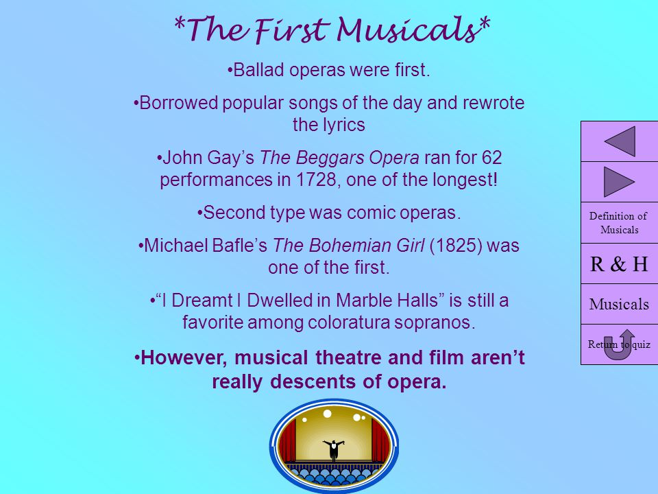 *The First Musicals* Ballad operas were first. Borrowed popular songs of the day and rewrote the lyrics John Gay's The Beggars Opera ran for 62 perfor