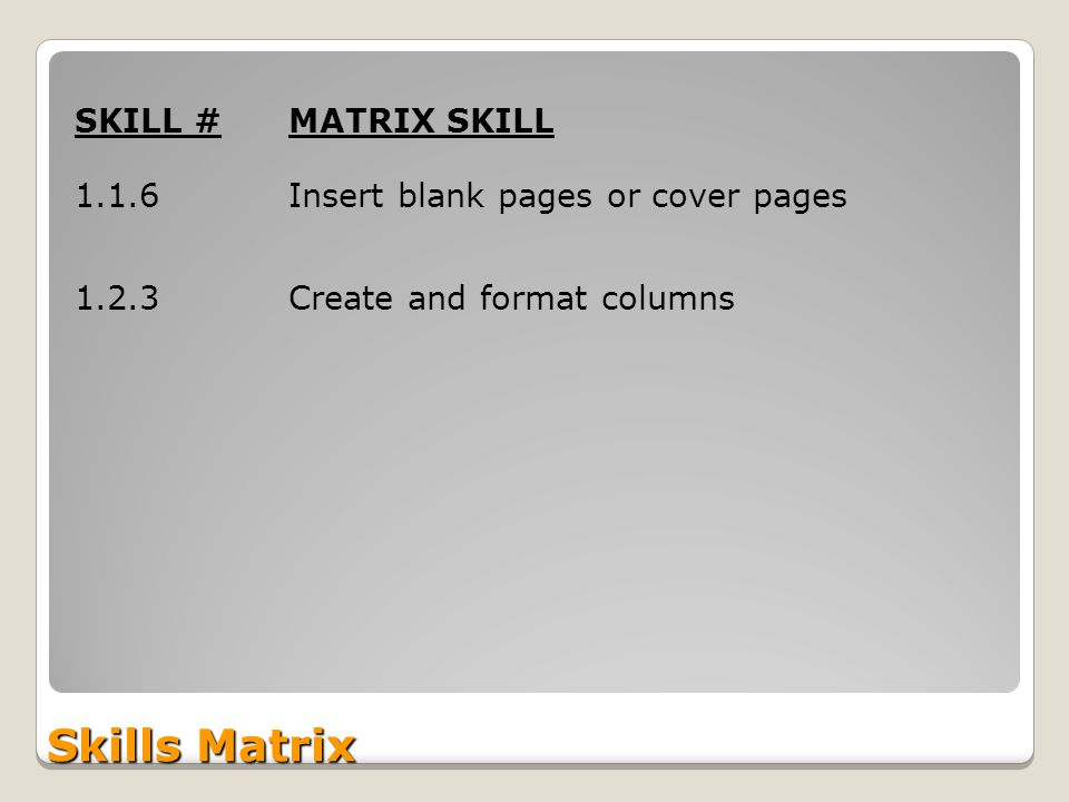 Skills Matrix SKILL #MATRIX SKILL 1.1.6Insert blank pages or cover pages 1.2.3Create and format columns