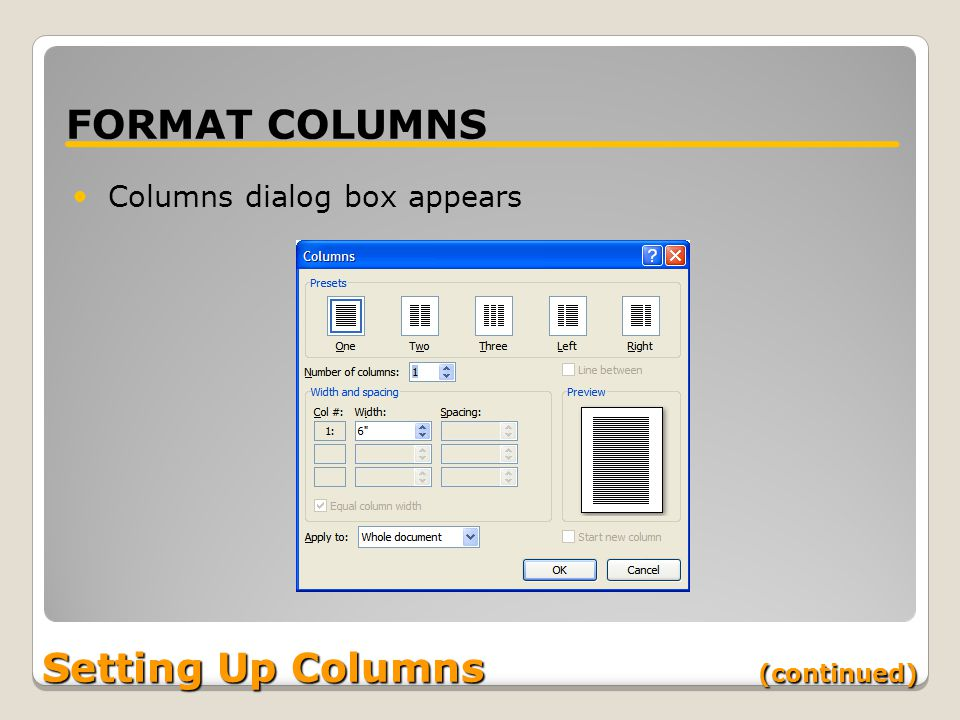 Setting Up Columns (continued) FORMAT COLUMNS Columns dialog box appears