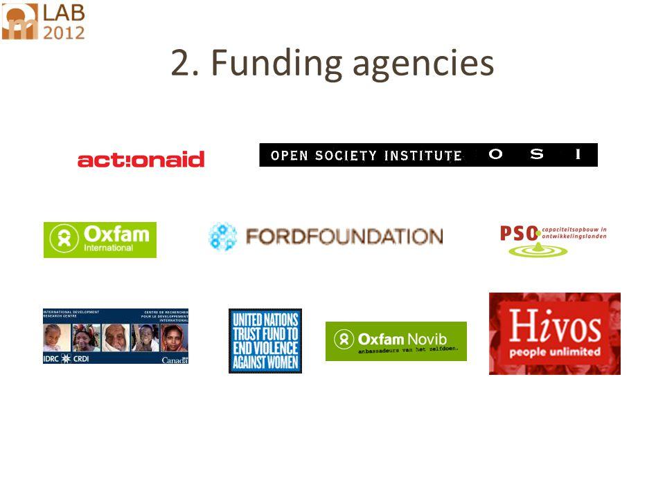 2. Funding agencies