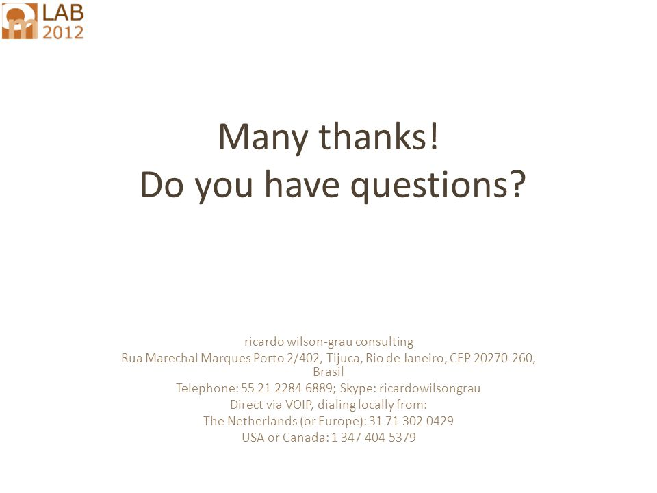 Many thanks. Do you have questions.