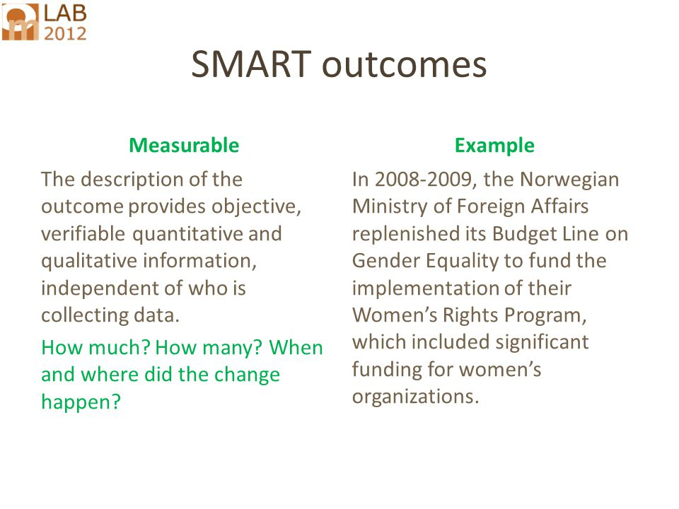 SMART outcomes MeasurableExample The description of the outcome provides objective, verifiable quantitative and qualitative information, independent of who is collecting data.