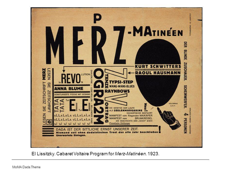 El Lissitzky. Cabaret Voltaire Program for Merz-Matinéen. 1923. MoMA Dada Theme