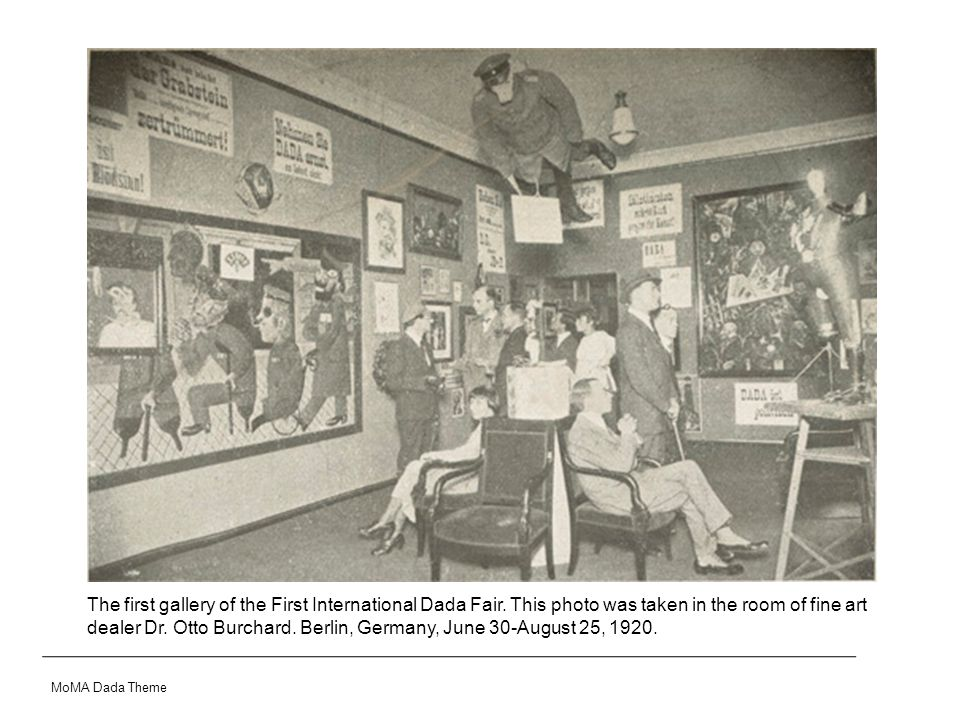 The first gallery of the First International Dada Fair. This photo was taken in the room of fine art dealer Dr. Otto Burchard. Berlin, Germany, June 3