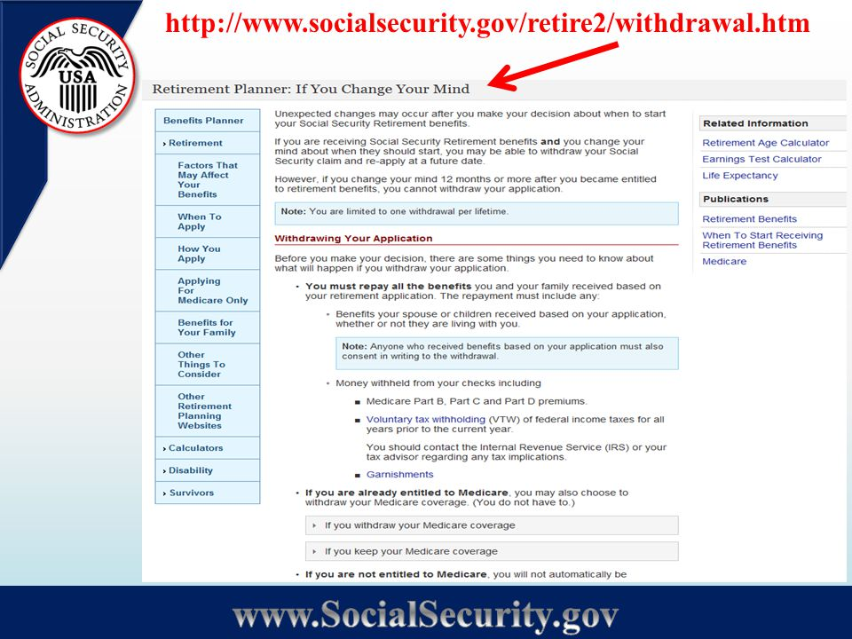 http://www.socialsecurity.gov/retire2/withdrawal.htm