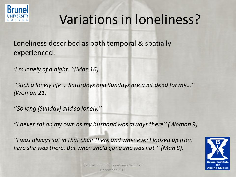 Variations in loneliness. Loneliness described as both temporal & spatially experienced.