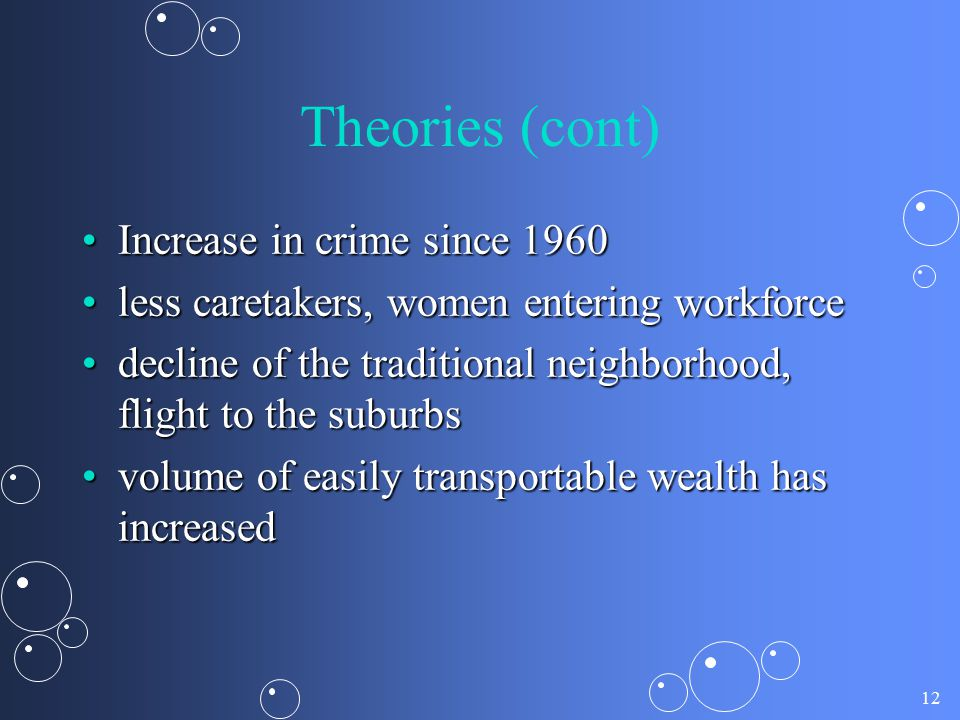 12 Theories (cont) Increase in crime since 1960Increase in crime since 1960 less caretakers, women entering workforceless caretakers, women entering w