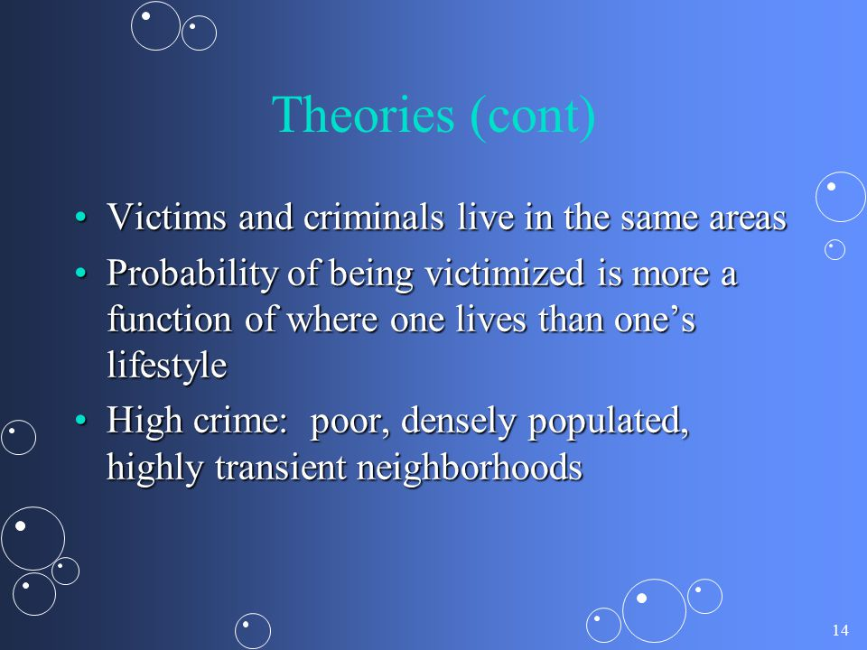 14 Theories (cont) Victims and criminals live in the same areasVictims and criminals live in the same areas Probability of being victimized is more a