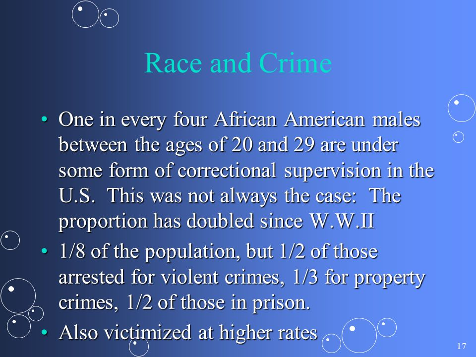 17 Race and Crime One in every four African American males between the ages of 20 and 29 are under some form of correctional supervision in the U.S. T