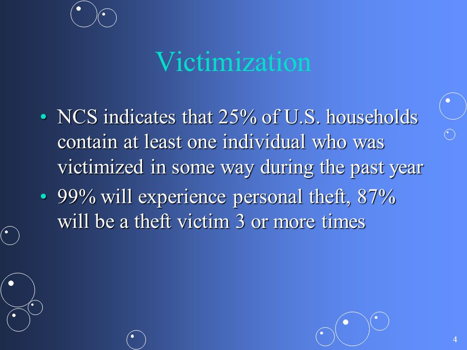 4 Victimization NCS indicates that 25% of U.S. households contain at least one individual who was victimized in some way during the past yearNCS indic