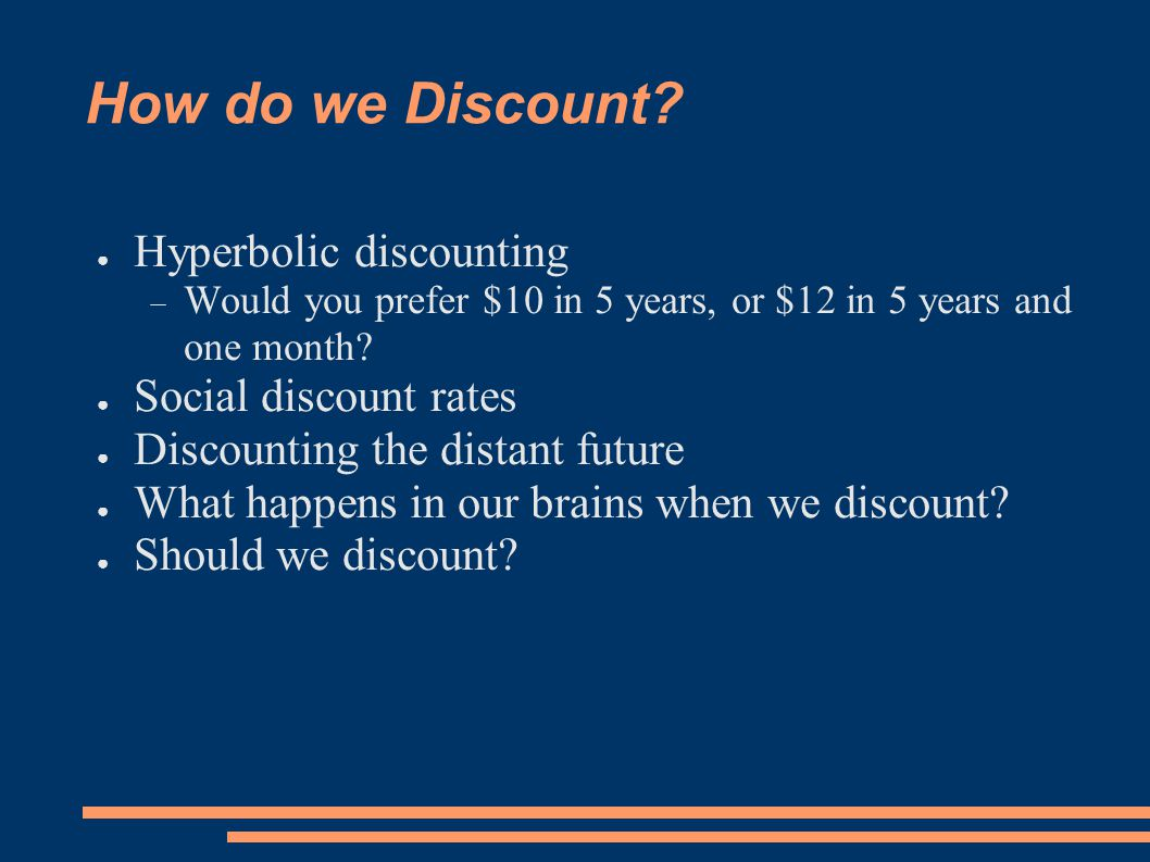 How do we Discount.