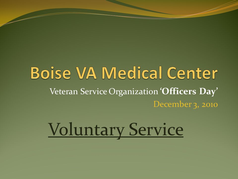 Veteran Service Organization 'Officers Day' December 3, 2010 Voluntary Service
