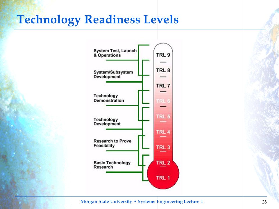 Morgan State University Systems Engineering Lecture 1 28 Technology Readiness Levels