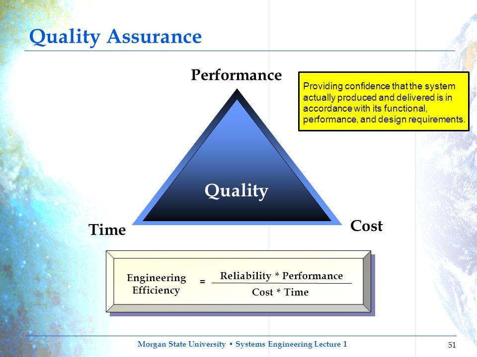 Morgan State University Systems Engineering Lecture 1 51 Quality Performance Cost Time Engineering Efficiency = Reliability * Performance Cost * Time