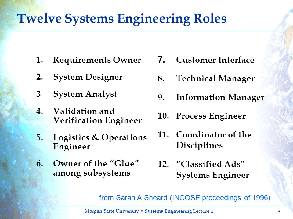 Morgan State University Systems Engineering Lecture 1 8 Twelve Systems Engineering Roles 1. Requirements Owner 2. System Designer 3. System Analyst 4.