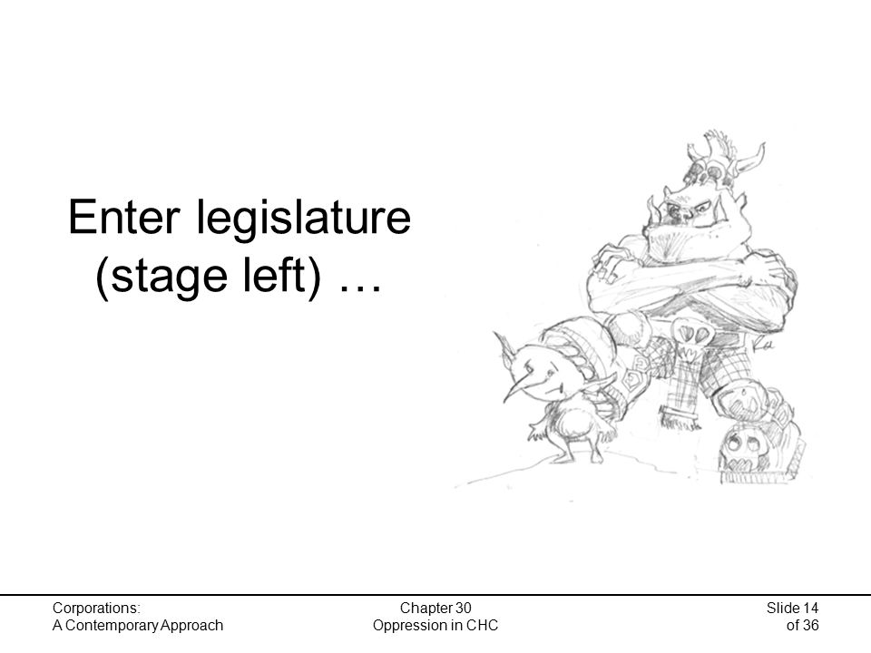 Corporations: A Contemporary Approach Chapter 30 Oppression in CHC Slide 14 of 36 Enter legislature (stage left) …