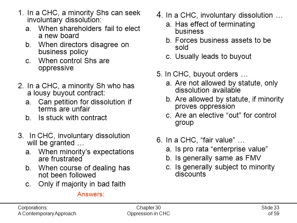 Corporations: A Contemporary Approach Slide 33 of 59 1.In a CHC, a minority Shs can seek involuntary dissolution: a.When shareholders fail to elect a new board b.When directors disagree on business policy c.When control Shs are oppressive 2.In a CHC, a minority Sh who has a lousy buyout contract: a.Can petition for dissolution if terms are unfair b.Is stuck with contract 3.