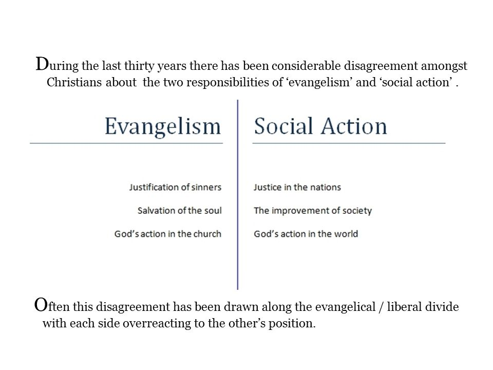 D uring the last thirty years there has been considerable disagreement amongst Christians about the two responsibilities of 'evangelism' and 'social action'.