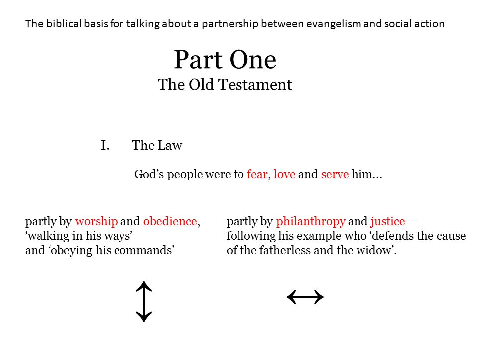 The biblical basis for talking about a partnership between evangelism and social action Part One The Old Testament I.