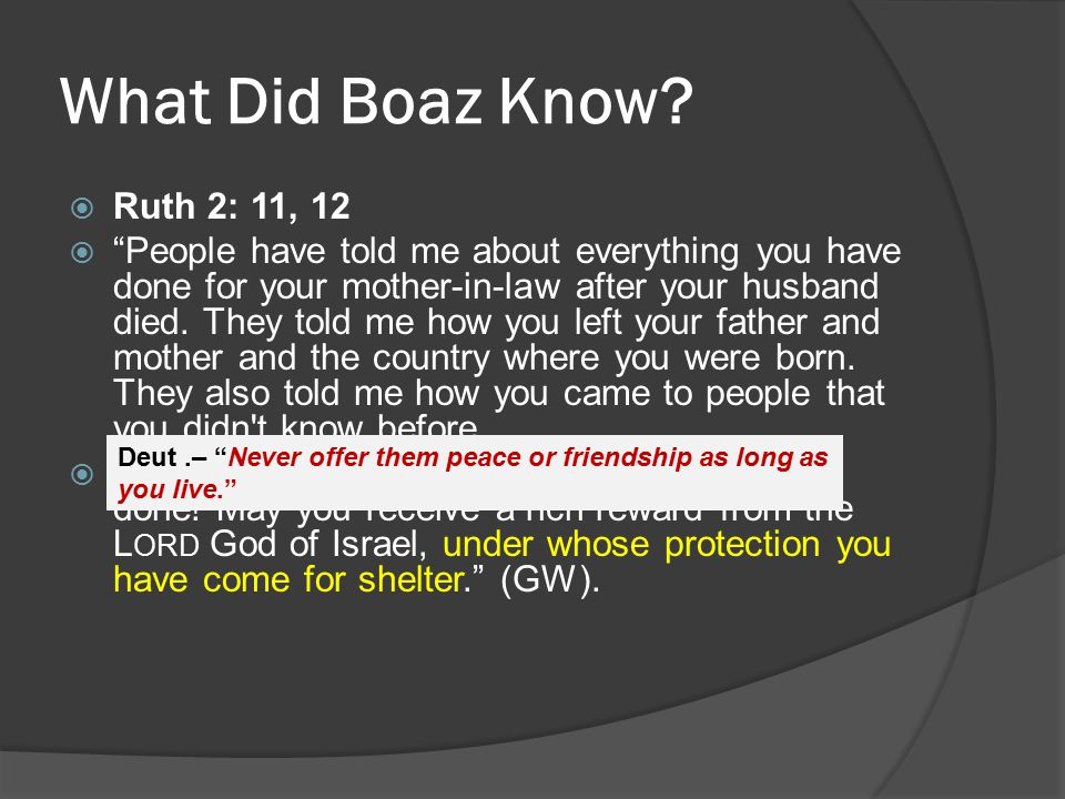 "What Did Boaz Know?  Ruth 2: 11, 12  ""People have told me about everything you have done for your mother-in-law after your husband died. They told m"