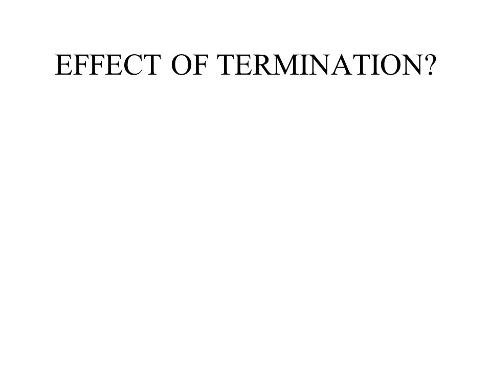 EFFECT OF TERMINATION?