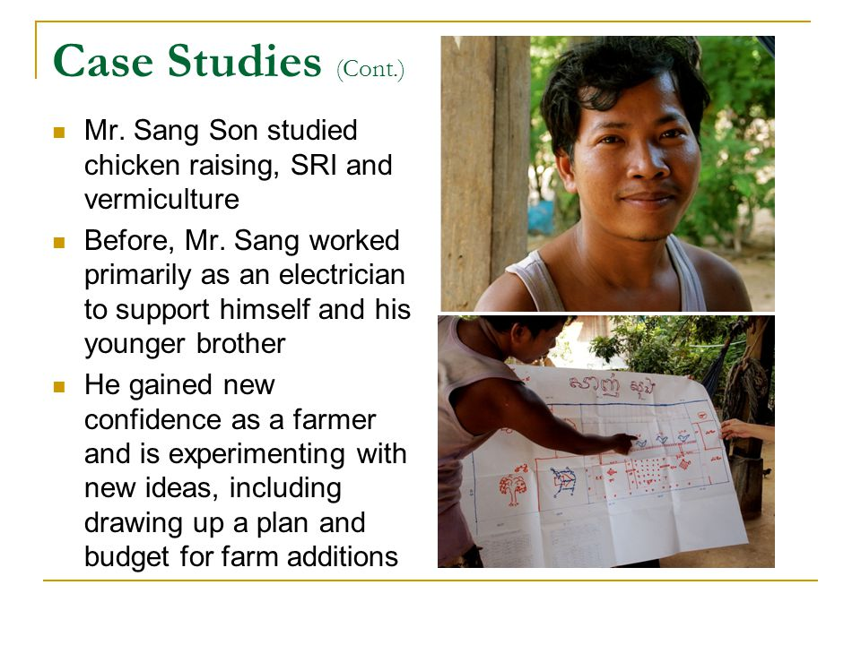 Case Studies (Cont.) Mr. Sang Son studied chicken raising, SRI and vermiculture Before, Mr.