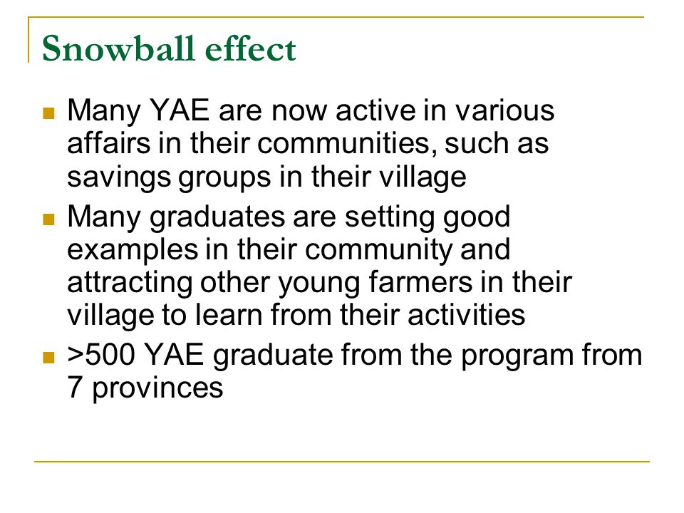 Snowball effect Many YAE are now active in various affairs in their communities, such as savings groups in their village Many graduates are setting good examples in their community and attracting other young farmers in their village to learn from their activities >500 YAE graduate from the program from 7 provinces