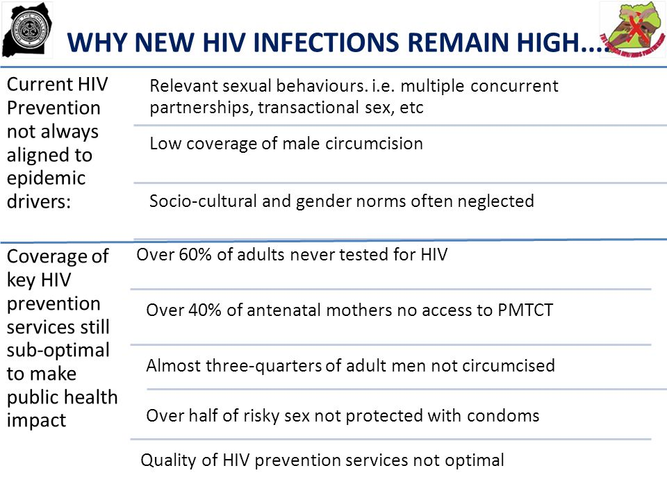 BIOMEDICAL ART treatment for eligible patients and PreP Safe Male Circumcision PMTCT Home-based HIV Testing HIV Testing (routine/opt-out) linked to ART and behavioral change programs TLC Family planning STI-screening and treatment of MARPs & PLHIV Safe syringes