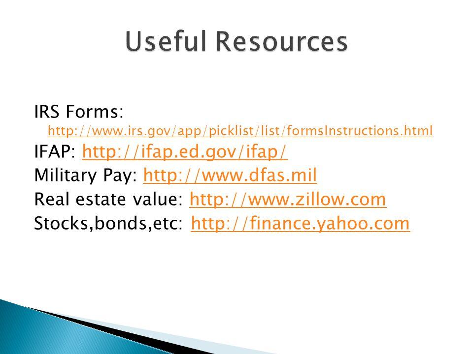 IRS Forms: http://www.irs.gov/app/picklist/list/formsInstructions.html http://www.irs.gov/app/picklist/list/formsInstructions.html IFAP: http://ifap.ed.gov/ifap/http://ifap.ed.gov/ifap/ Military Pay: http://www.dfas.milhttp://www.dfas.mil Real estate value: http://www.zillow.comhttp://www.zillow.com Stocks,bonds,etc: http://finance.yahoo.comhttp://finance.yahoo.com
