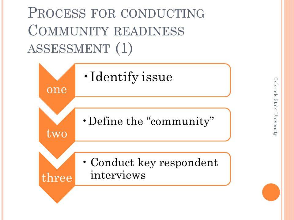 """P ROCESS FOR CONDUCTING C OMMUNITY READINESS ASSESSMENT (1) one Identify issue two Define the """"community"""" three Conduct key respondent interviews Colo"""