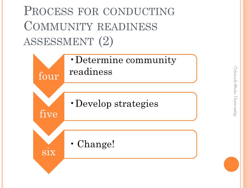 P ROCESS FOR CONDUCTING C OMMUNITY READINESS ASSESSMENT (2) four Determine community readiness five Develop strategies six Change.