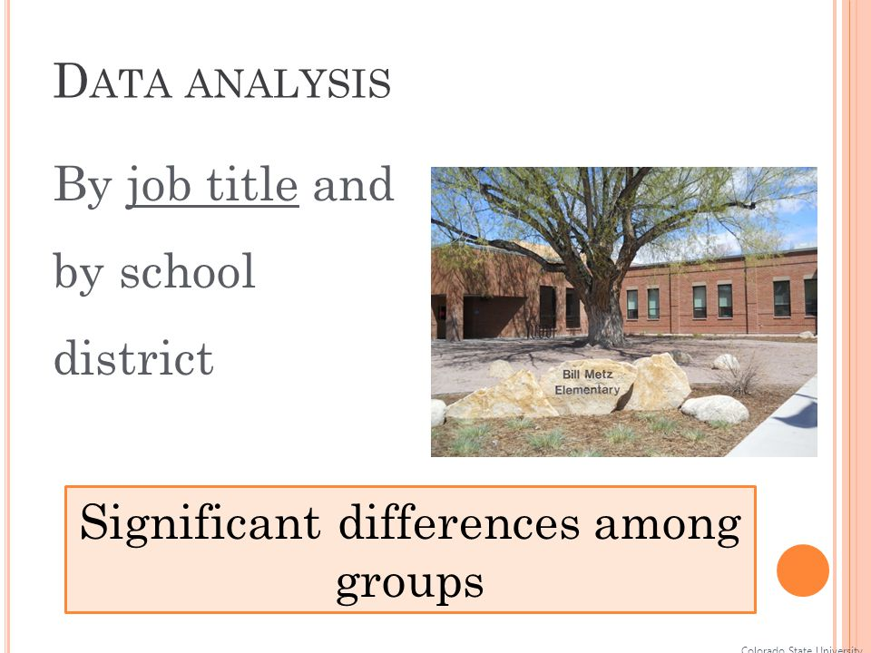 D ATA ANALYSIS Colorado State University Significant differences among groups By job title and by school district