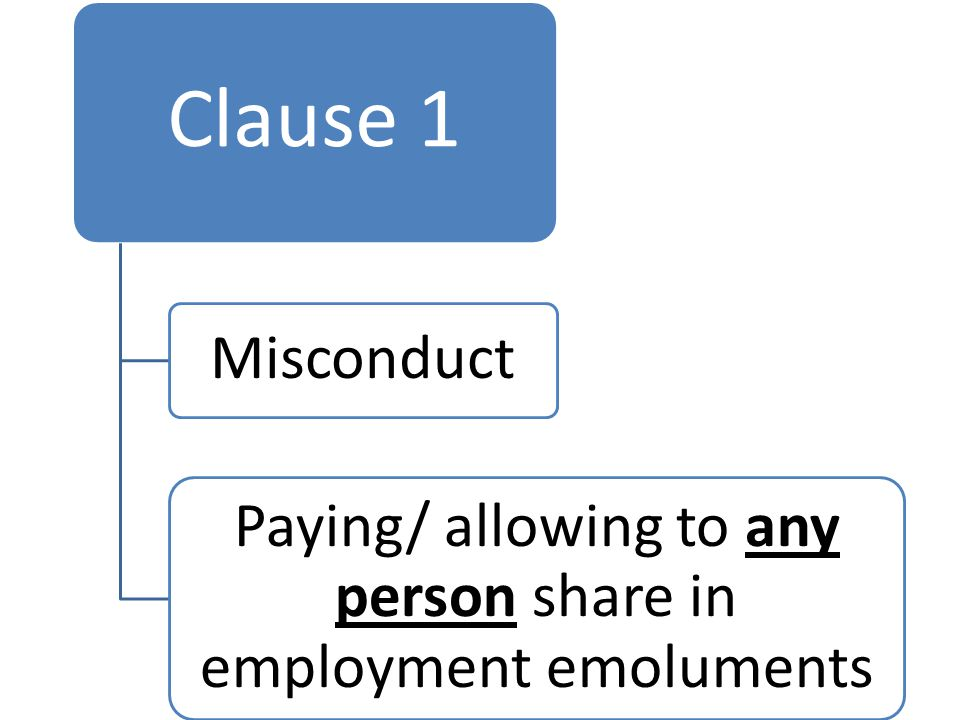 Clause 1 Misconduct Paying/ allowing to any person share in employment emoluments